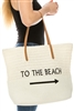 Wholesale Beach Totes - Embroidered Straw Tote Bags - To The Beach