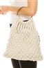 wholesale Cotton Macrame Bag w/ Wood Handles