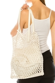 wholesale Cotton Macrame Bag w/ Leather Handles