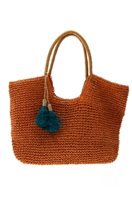 Wholesale Raffia Straw Bags - Toyo Straw Crochet Beach Bag with  Raffia Straw Tassels