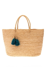 Wholesale Raffia Straw Bags - Oversized Raffia Braid Beach Bag with Raffia Straw Tassels