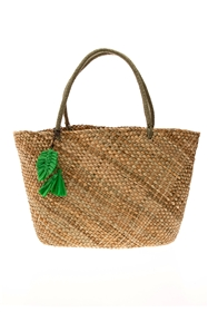 Wholesale Raffia Straw Bags - Handwoven Seagrass Tote Bag with Raffia Straw Tassels