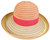 wholesale striped ribbon and straw turn-up hat