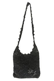wholesale Toyo Straw Sling Bag w/ Flower