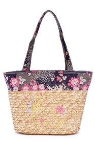 wholesale straw and floral fabric tote