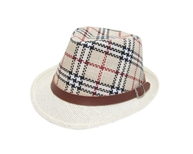 wholesale child's plaid straw fedora  belt