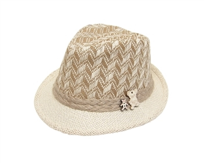 wholesale childs houndstooth straw fedora hats