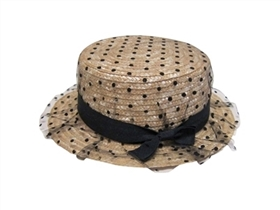 wholesale boater hats for kids - straw with polka dots tulle