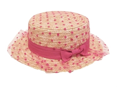 wholesale women's straw boater hat  tulle