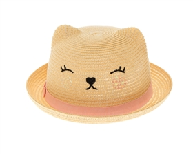 Wholesale Child's Straw Kitty Hat w/ Sequin Cheeks