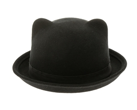 wholesale wool blend hats - fall winter hats wholesale - Wool Felt Kitty Bowler Hat