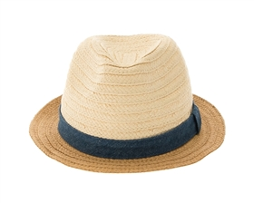 wholesale beach hats - Child's Straw Fedora w/ Chambray Band