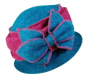 wholesale cloche hat with marled lambswool and bow