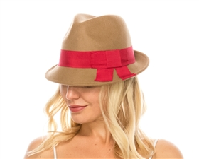 wholesale wool felt fedora  flat bow