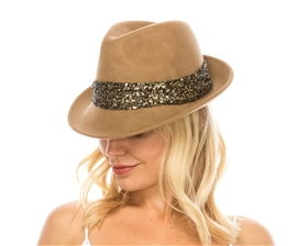wholesale wool felt fedora  sequin band