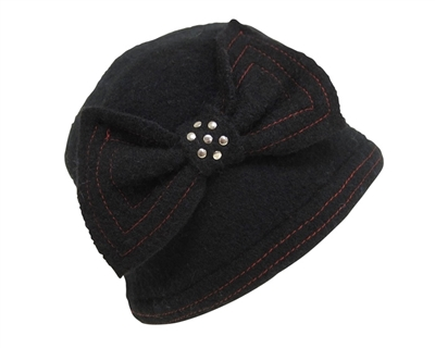wholesale wool beanie  stitched bow