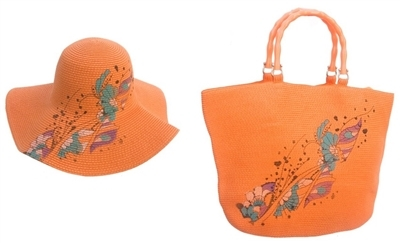 3a5d40c55 302H-302B Butterfly Print Straw Hat & Tote Set