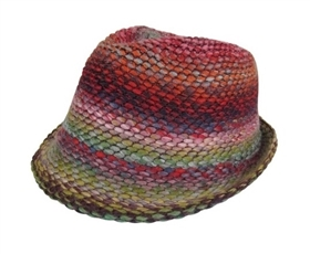 wholesale marled multicolor knit fedora
