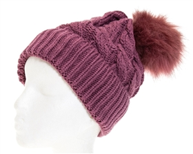 wholesale Matching Color Fur Pom Beanie