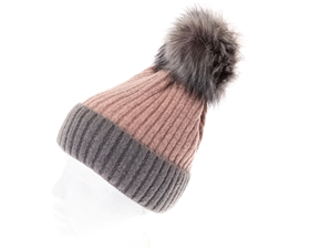 wholesale 2-Tone Fur Pom Beanie