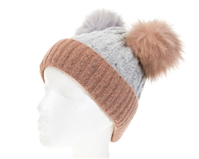 wholesale 2-Tone Double Fur Pom Beanie