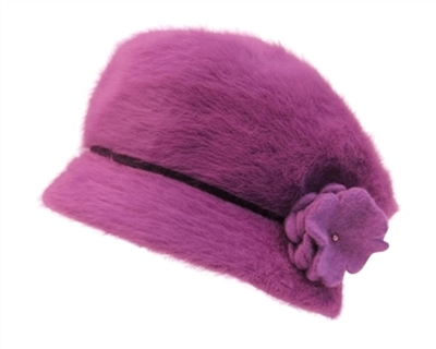 wholesale winter hat soft angora cabbie with flower