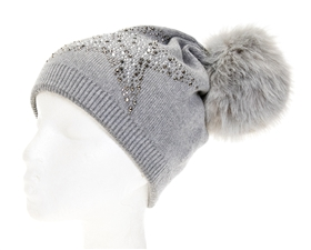 wholesale Star Studded Fur Pom Beanie