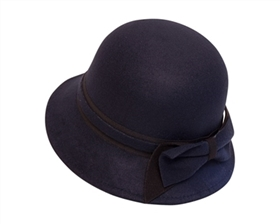 wholesale dress hats - navy vegan felt hat - wholesale cloche hats