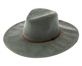 wholesale fall-winter hats - vegan suede wide brim women's hat