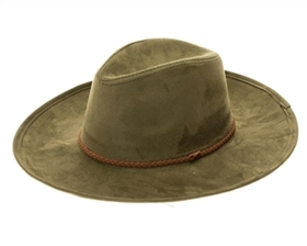wholesale wide brim fedoras - vegan suede wide brim women's hat