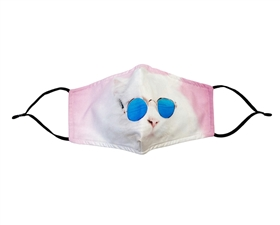 Sunglasses Kitty Print Cotton Mask - Buy Bulk Print Face Masks Los Angeles - Novelty Face Mask Buy Wholesale Fashion Facemasks - Buy Volume Reusable Cotton Fashion Face Covers Los Angeles Wholesaler USA