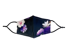 Black Purple Floral Print Face Masks Wholesale - Wholesale Fashion Face Covers Los Angeles - Fashion Mask Wholesaler USA