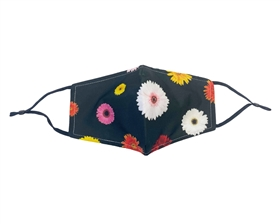 Wholesale Black Floral Print Face Masks - Buy Bulk Fashion Facemasks Turquoise Flowers Wholesale - Fashion Face Covers Los Angeles Wholesaler USA