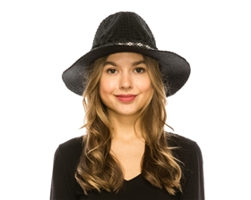wholesale winter panama hats - southwestern band