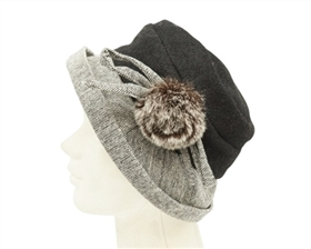 wholesale winter hats bucket with fur pom