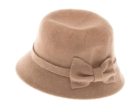 wholesale knit wool cloche w bow
