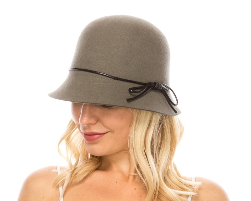00f83539c9e Wholesale Wool Felt Cloche w Leather Tie - Women s Hat