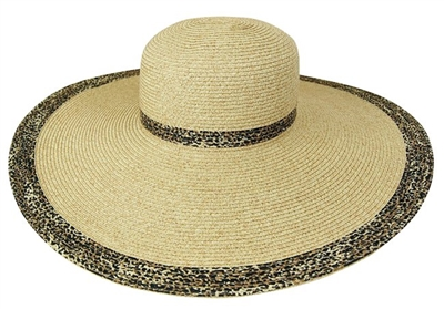wholesale extra wide brim hats - leopard print straw hat