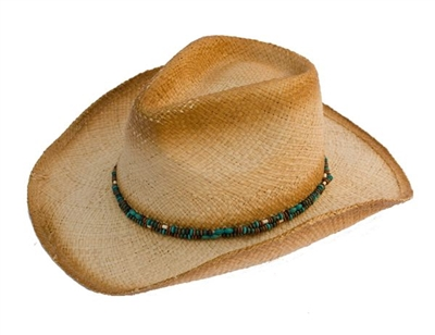 wholesale raffia cowboy hat blue wood beads