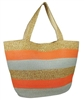 wholesale orange striped straw tote bag