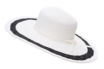 wholesale wide brim hats - white sun hat - black beach hats - ribbon woven edge