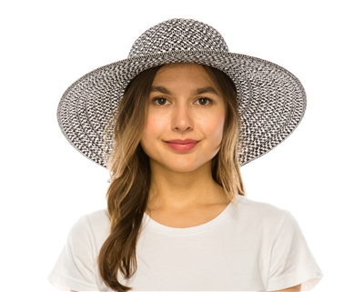 wholesale straw sun hat for women wide brim black and white
