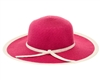 Bulk Sun Protection Hats - Wholesale Sun Hats Bright Colors - Ladies' UPF 50+ Straw Sun Hats - White Trim
