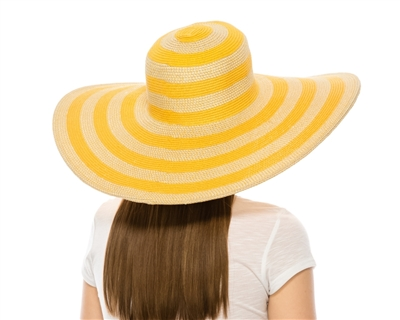 extra wide brim hats wholesale - big floppy striped straw sun hat