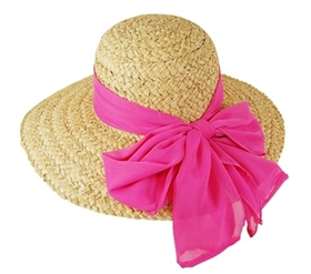 wholesale organic raffia straw sun hat  sheer ribbon