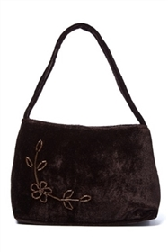 bulk brown velvet beaded purse