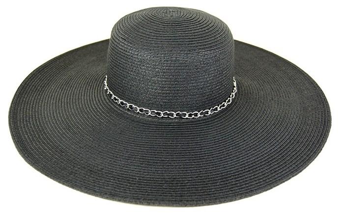 dc05865366681d 431 Wide Brim Hat with Chain Trim