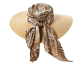wholesale wide brim  animal print-wrapped crown