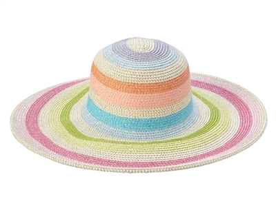 Womens Wholesale Sun Hats - Metallic Striped Wide Brim Straw Hat