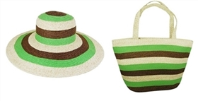 wholesale straw hat bag set colorblock